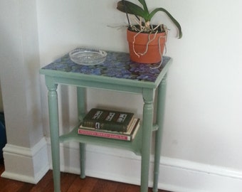 Vintage green side table with floral decoupage fabric