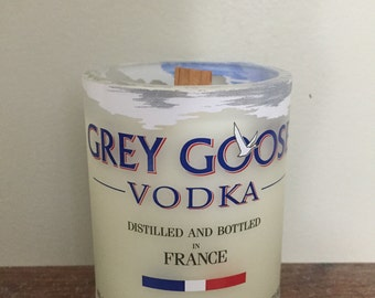 Handmade Grey Goose soy candle with wood wick - Citrus and Sage scent