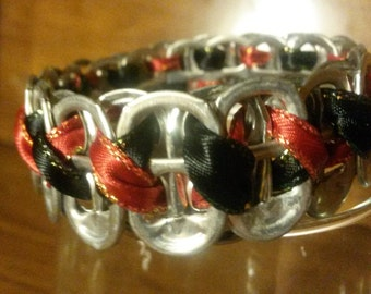Red-Black Soda Tab Bracelet