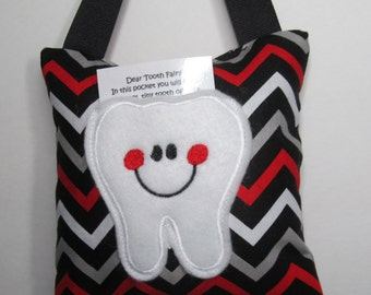 Tooth Fairy Pillow Red White Gray and Black Chevron