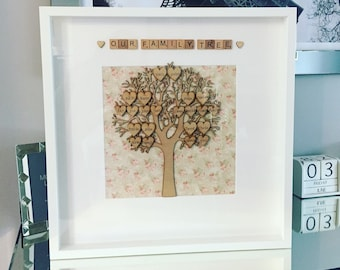extra large family tree frame upto 28 names personalised handmade scrabble frames for all occasions perfect christmas or birthday gift
