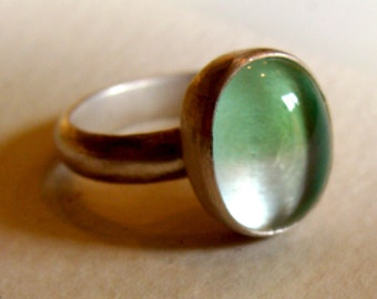 Sterling Silver Ring with Pale Blue and Aqua Venetian Glass Gem