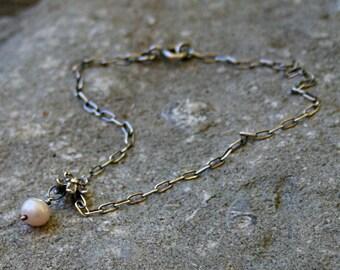 Oxidised sterling silver freshwater pearl bracelet