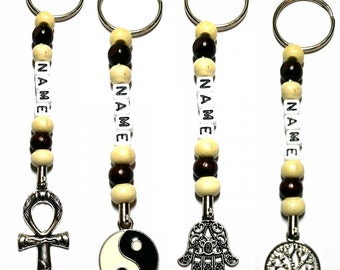 Personalised Keyring - Wiccan, Surfer, Indie, Bag Charms - Unisex Keyrings, Car Keychains