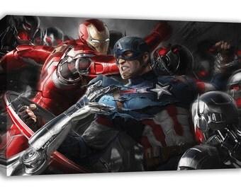 Marvel Captain America V Ironman Superhero battle canvas Wall Art
