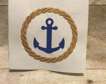 Anchor With Rope Frame Embroidery Design, Anchor Embroidery Design
