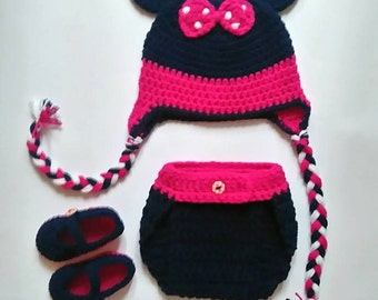 Crochet Minie Mouse Photo Prop, Newborn set, Crochet Minie, Minie Mouse hat, Diaper cover, Mary Janes, Newborn photo prop, Minie Mouse fan