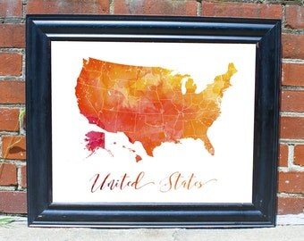 United States Decor Wall United States Wall Decor Bar Decor Map Print Art Bedroom Art Gift for Him Gift for Wife Map Art Print Wall Decor