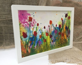 Framed Original Acrylic Abstract Flower Painting