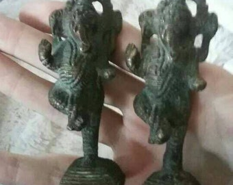 Pair of Sandcast Bronze Hindu Asian Elephant Figurines