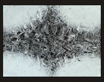 Black and White Original Abstract Oil Painting. Continuous Explore II