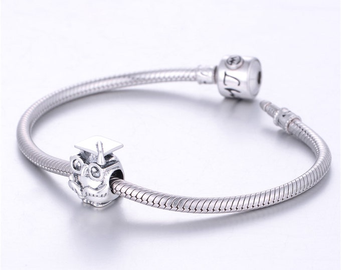 Owl Graduate Charm - 925 Sterling Silver - Gift Packing Available - Birthday Gift - Graduation Gift