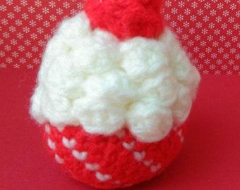 Crochet Cupcake Red White Small