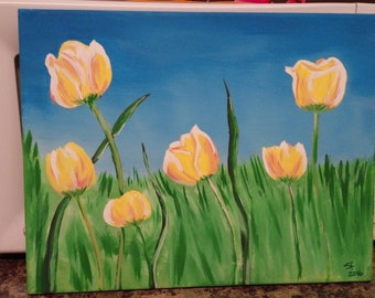 Acrylic Painting Spring Tulips