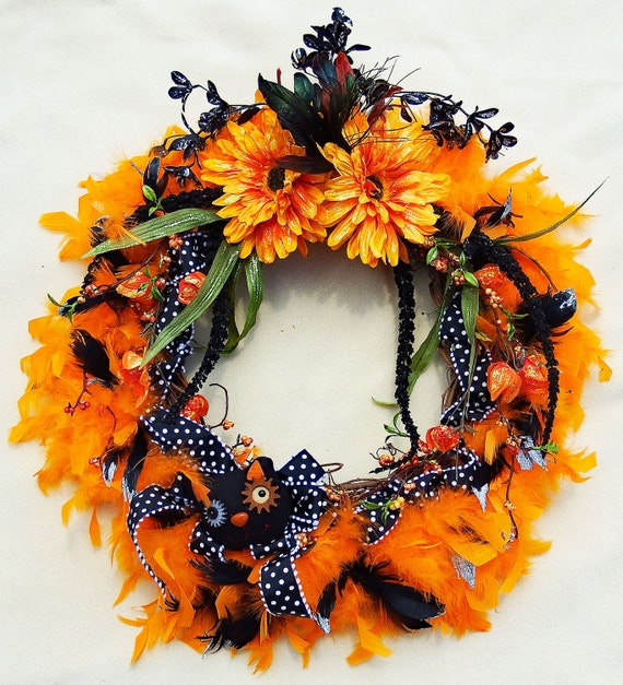 Black Flower And Crow Halloween Wreath: Halloween Wreath Black Cat Wreath Orange Flowers Black And