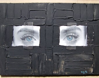 Acrylic painting canvas 70 x 50 x 2 locked in eye mesh structures painting