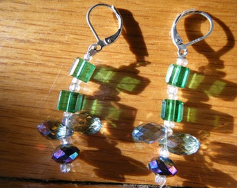 Hanging Flower Glass Earrings