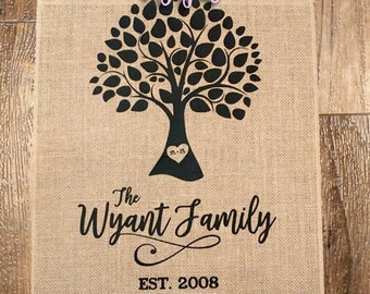 Family Tree Custom Burlap Flag - 12x16