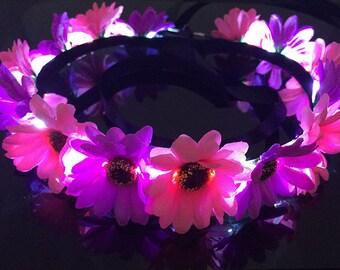LED Festival Flower Crown Headband, EDC, Ultra, Rave, Light Up, Neon
