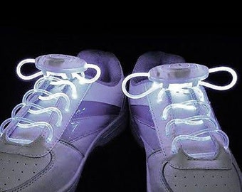 White LED Rave Shoelaces for DJ, Edc, Ultra, Music Festival, Concerts, Clubs, EDM