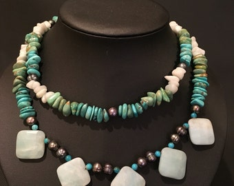 """Vintage Turquoise Double Strand Necklace 18"""" and Metal Accents"""