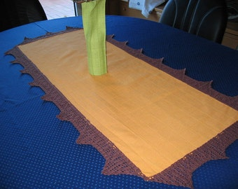 Table runners in yellow with Brown filet crocheted lace