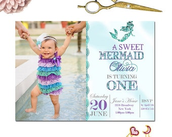 Mermaid Invitation, First Birthday İnvitation, Gold Glitter Invitation, Under The Sea Mermaid Glitter Baby Mermaid,1st Birthday Invitation