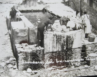 Antique Real Photo Postcard Post Card Mexico RPPC Taxco Girls Washing Clothes Black & White image