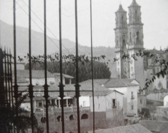 Antique 1920's Real Photo Postcard Post Card Mexico RPPC Taxco Town View Black & White image
