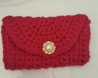 Hot Pink Wallet or Card Carrier - Crochet Wallet - Crochet Card Carrier - Hot Pink Wallet or Card Carrier