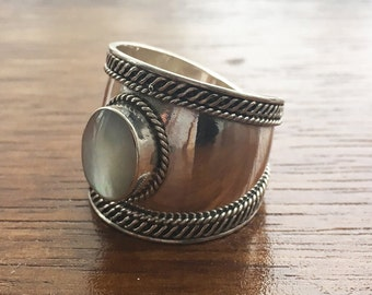 Abalone 925 Sterling Silver Shield Ring- Size N / O
