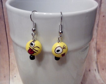 Silly faces dangle earrings