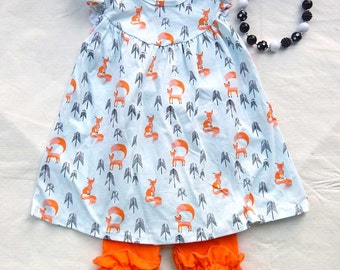 Fox Tunic Dress & Ruffle Capri Pants SET Pearl Style Foxes Knit Print Monogram Personalized Fall back to school Outfit Forest Animals