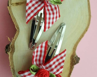 Hair Clips Bow Rose