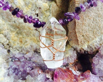Quartz & Amethyst Crystal Healing Necklace
