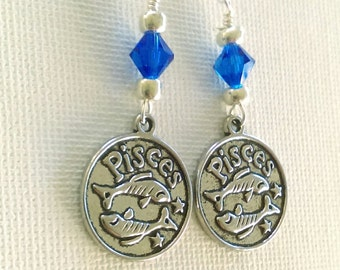 Pisces two sided coin zodiac dangle earrings