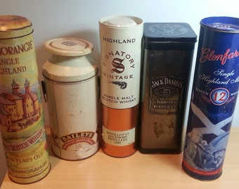 5 Collectable Empty Tins. Whisky, Baileys, Whiskey Boxes. Jack Daniels