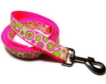 "Pink/White/Lime Green Circles 1"" Wide Dog Leash"