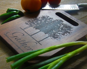 Engraved 9 x 12 Gather Cutting Board With Handle, Handmade