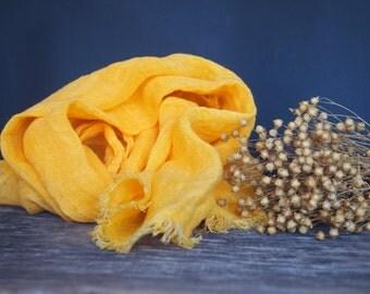 Linen Yellow Scarf, Women Accessories, Linen Gift