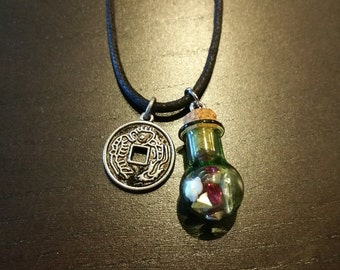 Hemp Necklace/Dangler with Chinese Good Luck Coin Charm