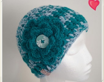 Crochet Hat - Beanie with a Teal Flower