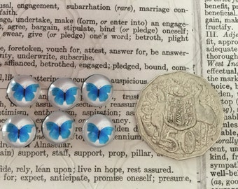 6 Butterfly Cabochons