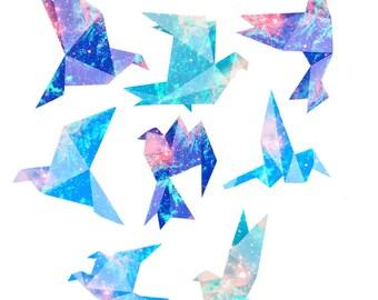 Origami birds planner sticker | Birds sticker pack | Galaxy planner stickers | Forest animals sticker set