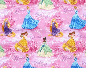 "Disney Fabric - Disney Princess fabric ROYAL DEBUT Cinderella, Belle, Rapunzel, Tiana 100% cotton Fabric by the yard 36""x43"" (D23)"