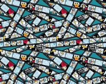 """Disney Fabric - Disney Donald Duck fabric The Donald Show on 8MM Filmstrip 100% cotton Fabric by the yard 36""""x43"""" (SC332)"""
