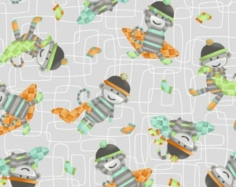"Jungle Animals / Nursery Fabric: Monkeys business fabric GREEN and GREY  100% cotton by the yard 36""x44"" (A155)"
