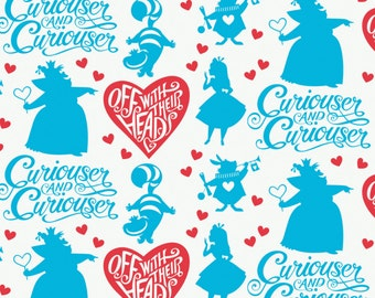 "IN STOCK- Disney Fabric- Alice in wonderland - Curiouser & Curiouser In Topaz by Camelot 100% cotton Fabric by the yard 36""x44"" (CA218"
