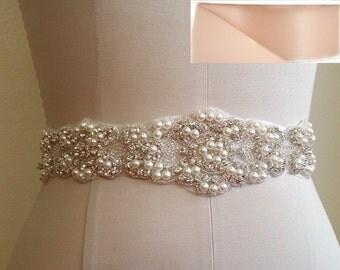 Wedding Belt, Bridal Sash Belt - Crystal Pearl Wedding Sash Belt = in BLUSH satin sash