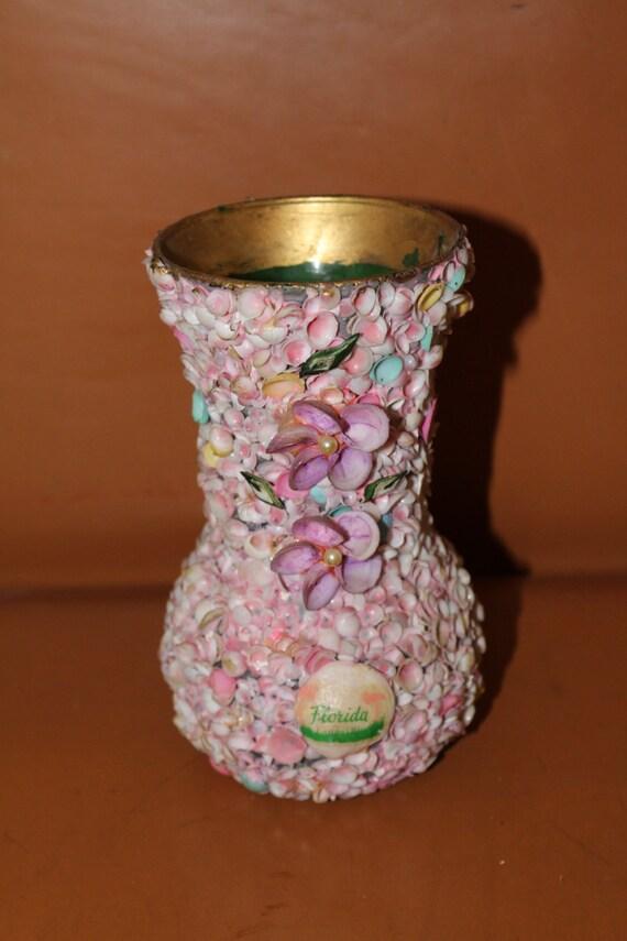 Vintage Florida Pink Shell Vase